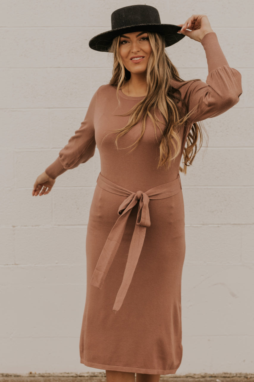Long Sleeve Column Dress | ROOLEE