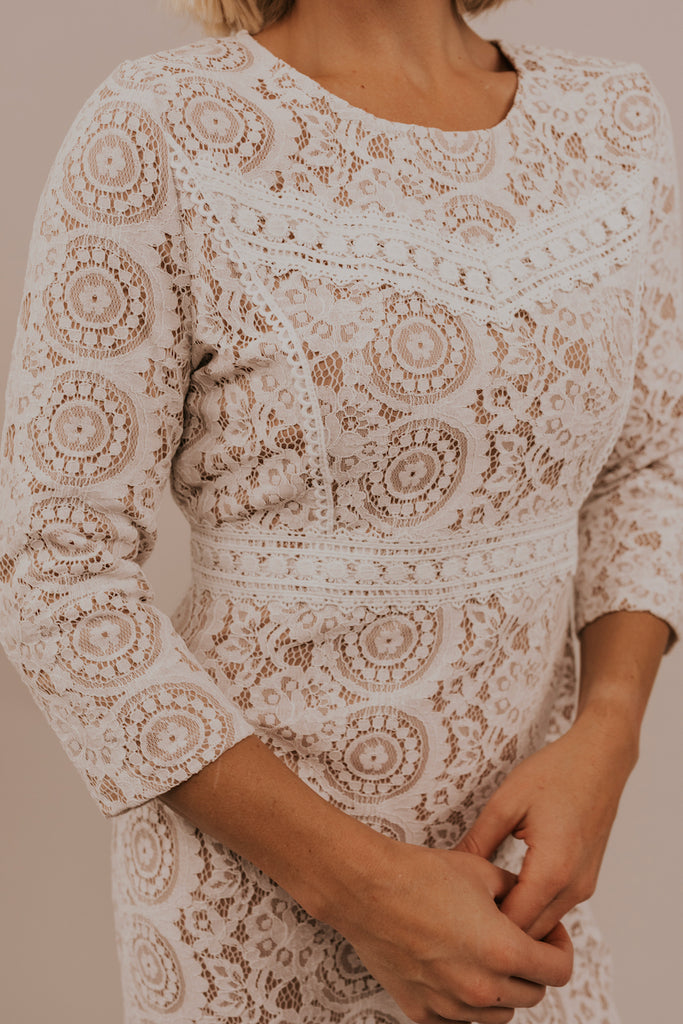 3/4 Length Sleeve Lace Dresses | ROOLEE