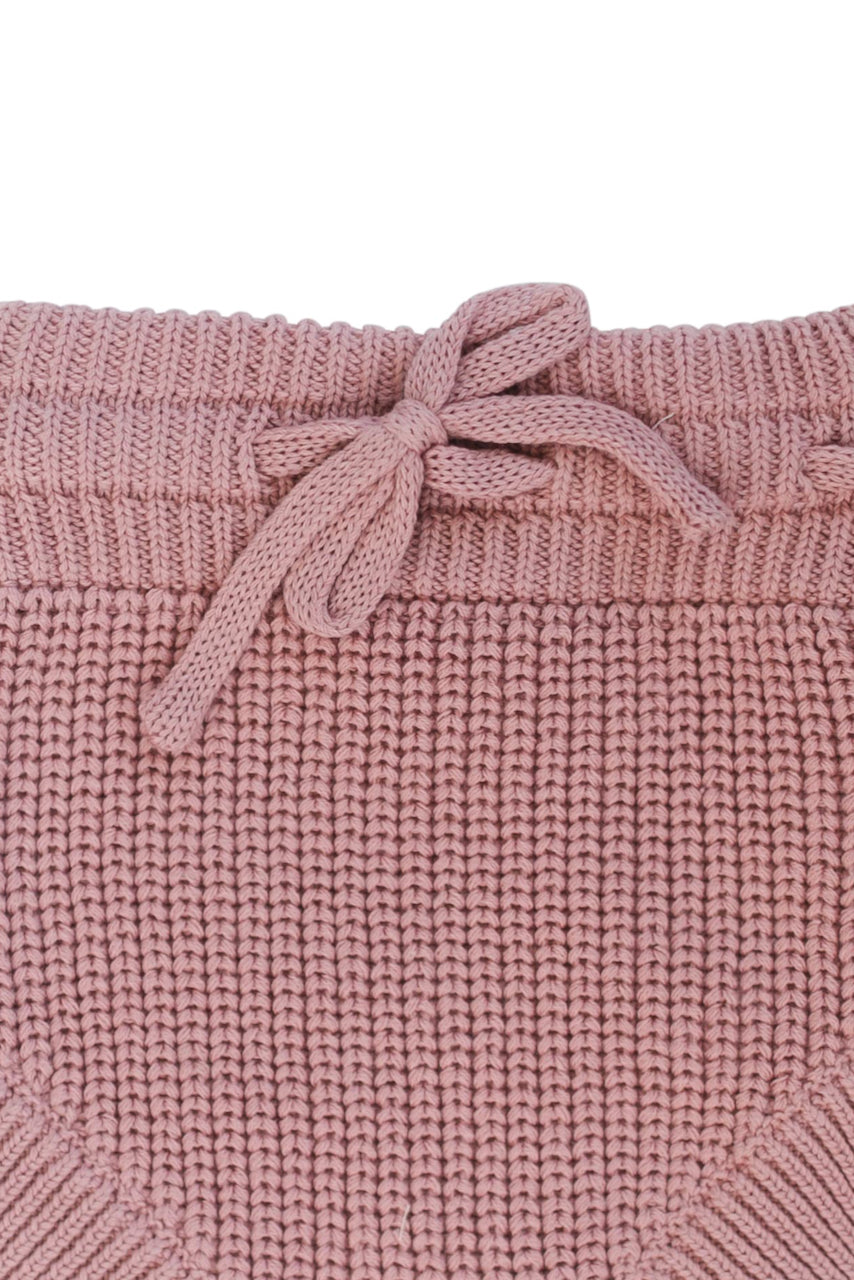 Pink knit tie waist bloomers for kids | ROOLEE