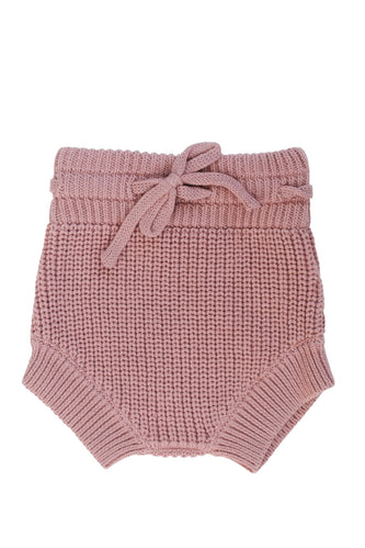 Pink knit baby bloomers | ROOLEE