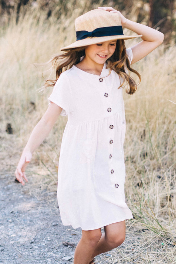 Mini Esmae Button Dress | ROOLEE Kids
