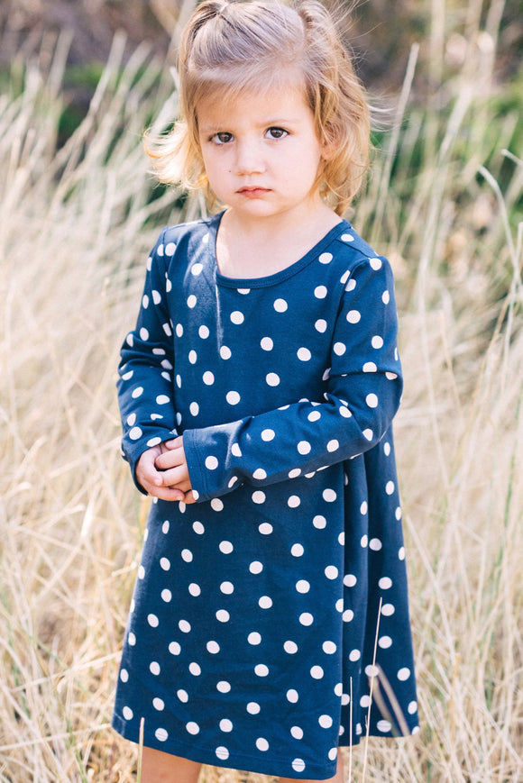 Long Sleeve Polka Dot Dress For Girls | ROOLEE Kids