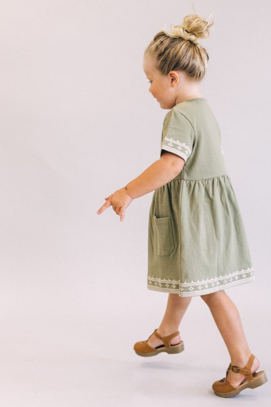 Olive Green + White Dress For Girls | ROOLEE Kids