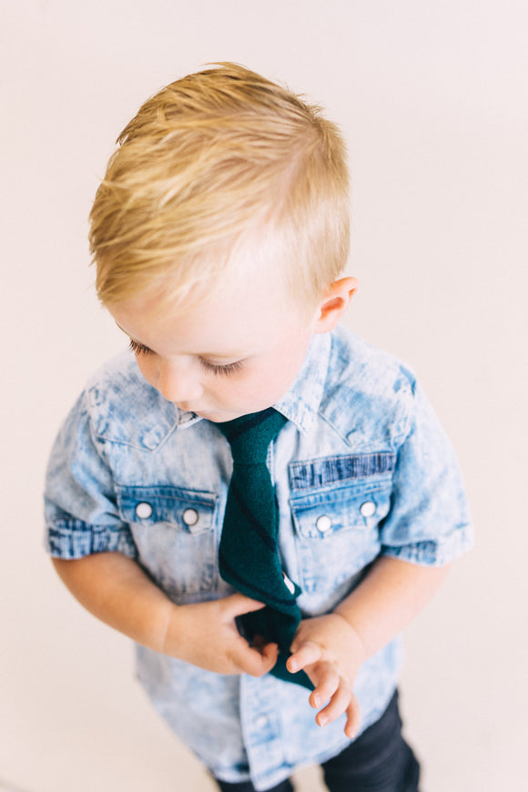 Clarence Clip Tie in Green Stripe | ROOLEE Kids