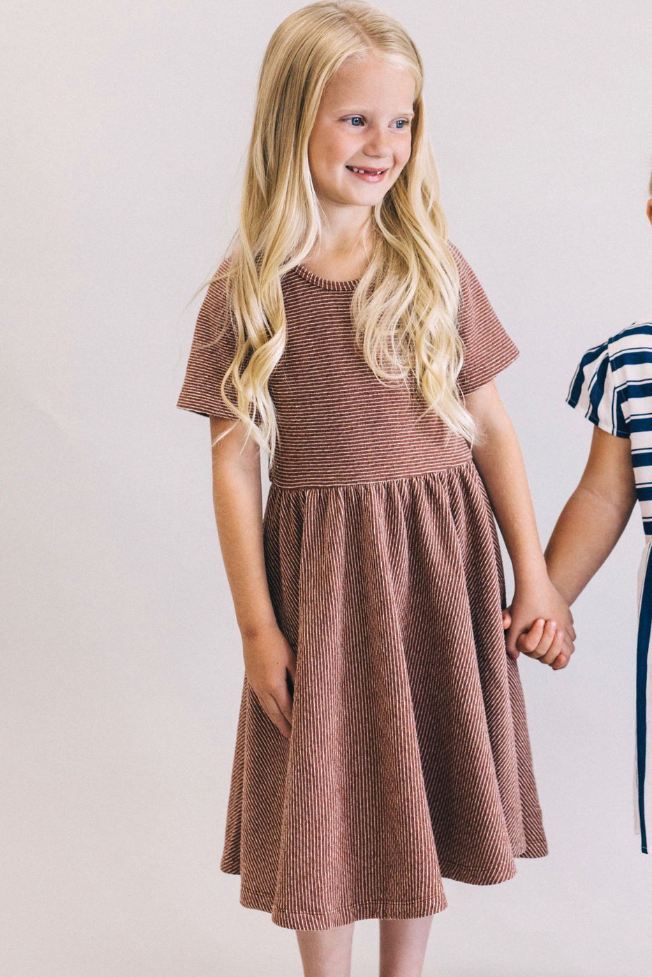 Red Brown Stripe Midi Dress For Girls | ROOLEE Kids