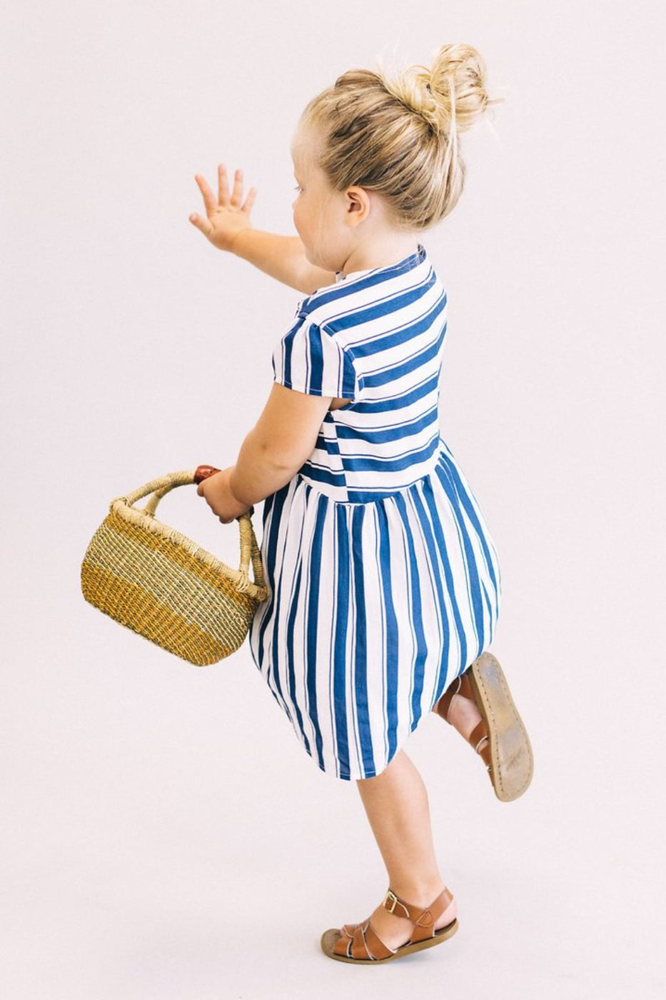 Navy + White Stripe Kids Dress | ROOLEE