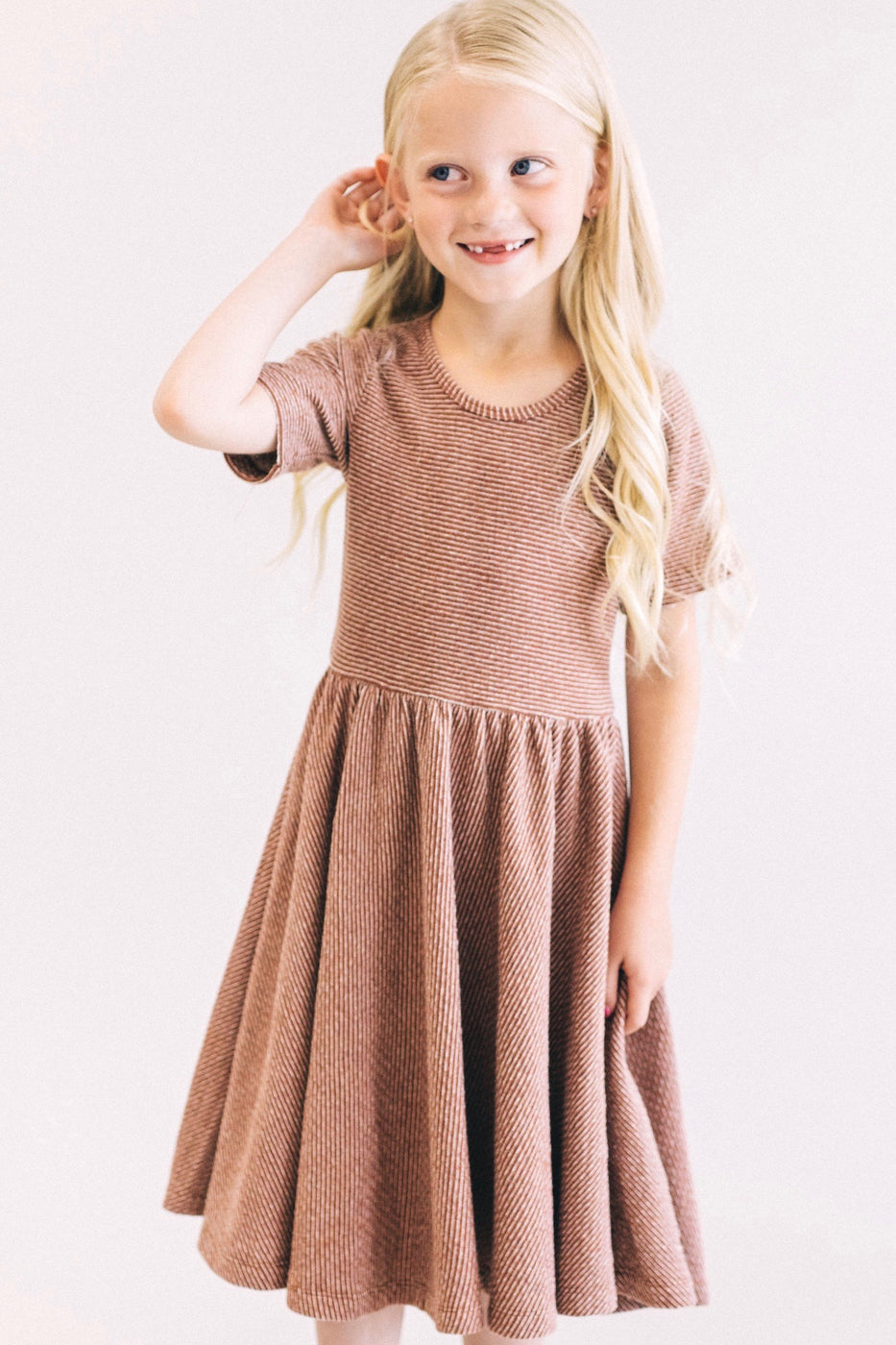 Montoya Stripe Dress in Sienna | ROOLEE Kids
