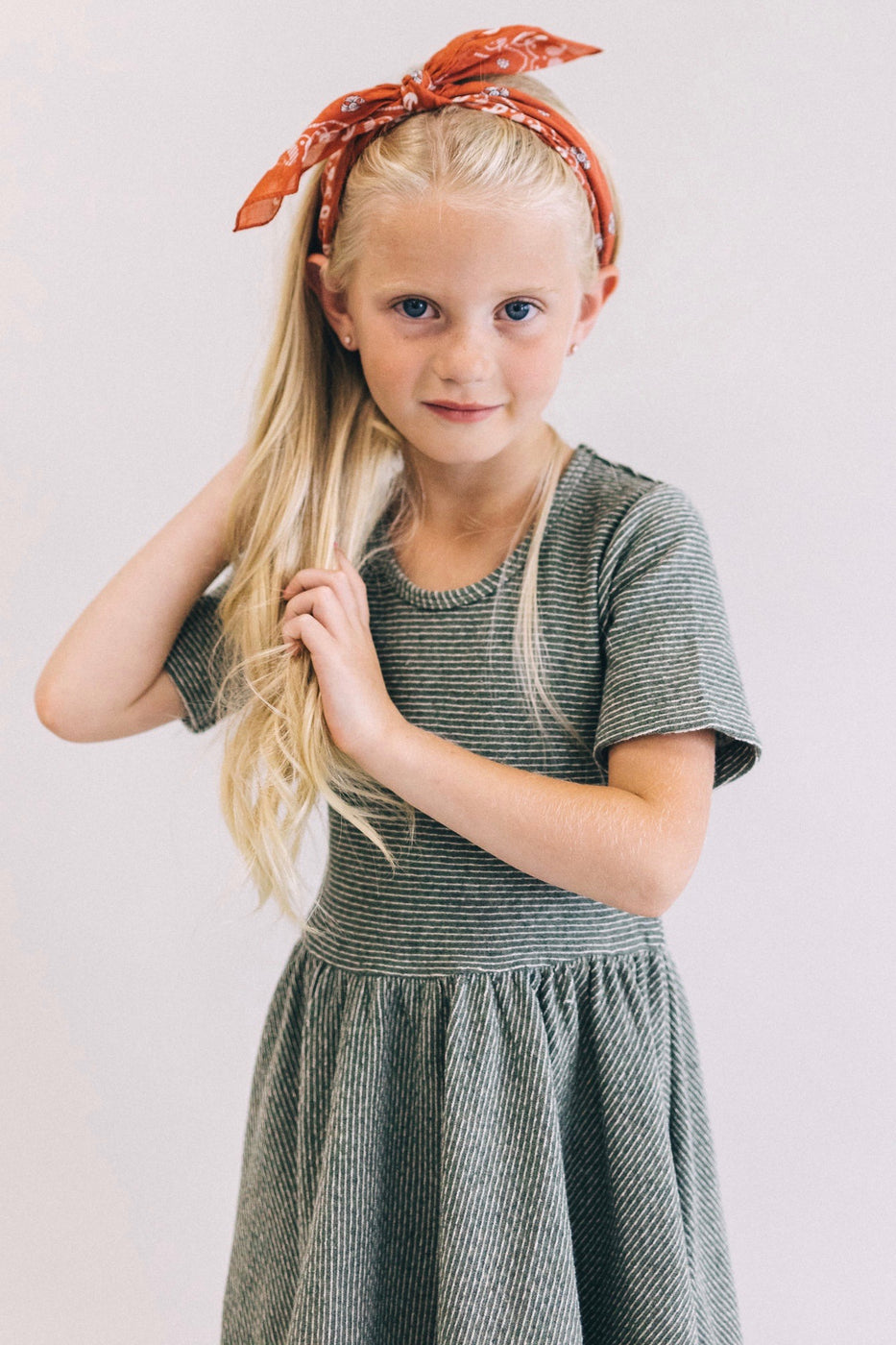 Montoya Stripe Dress in Olive | ROOLEE Kids