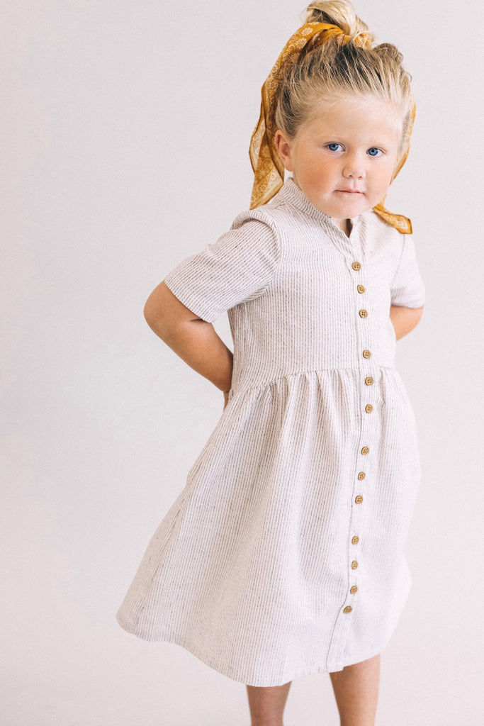 Mini Clements Woven Dress in Almond | ROOLEE Kids