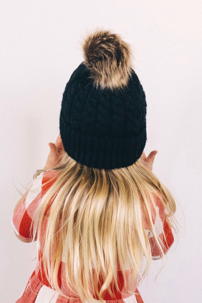 The Elsa Knit Beanie in Black | ROOLEE Kids
