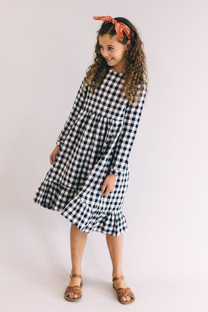Black + White Plaid Midi Dress | ROOLEE Kids