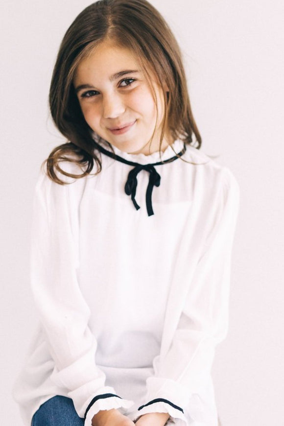 Black + White Long Sleeve Blouse | ROOLEE Kids