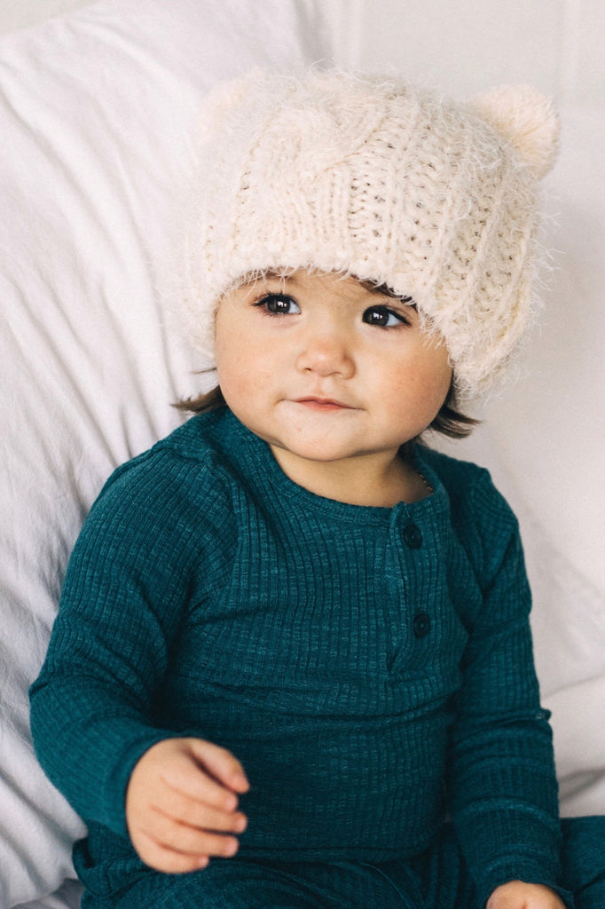 Ivory Knit Beanie | ROOLEE Kids