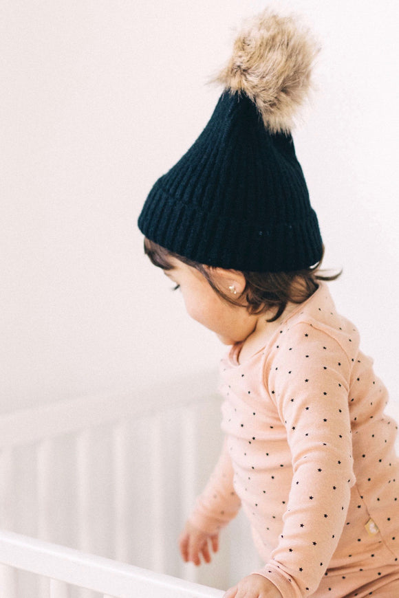 Black Knit Beanie for Kids | ROOLEE Kids
