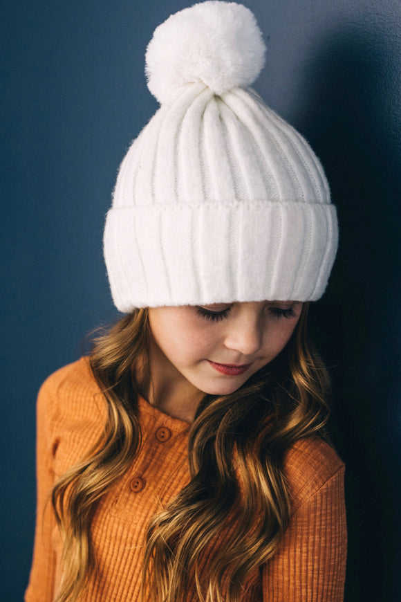 Kids Ribbed Beanie With Pom Pom | ROOLEE Kids