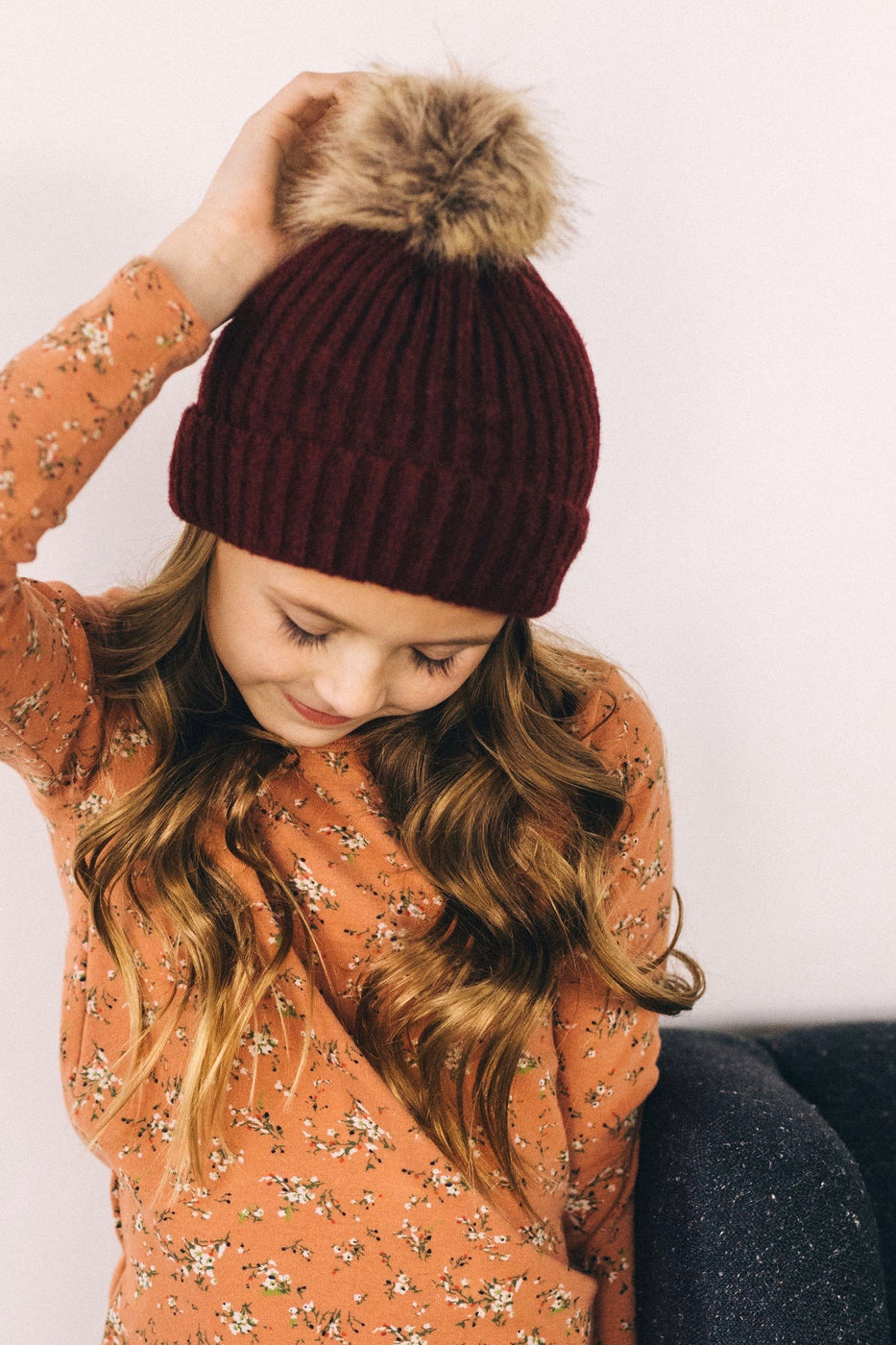 Maroon Knit Beanie for Kids | ROOLEE Kids