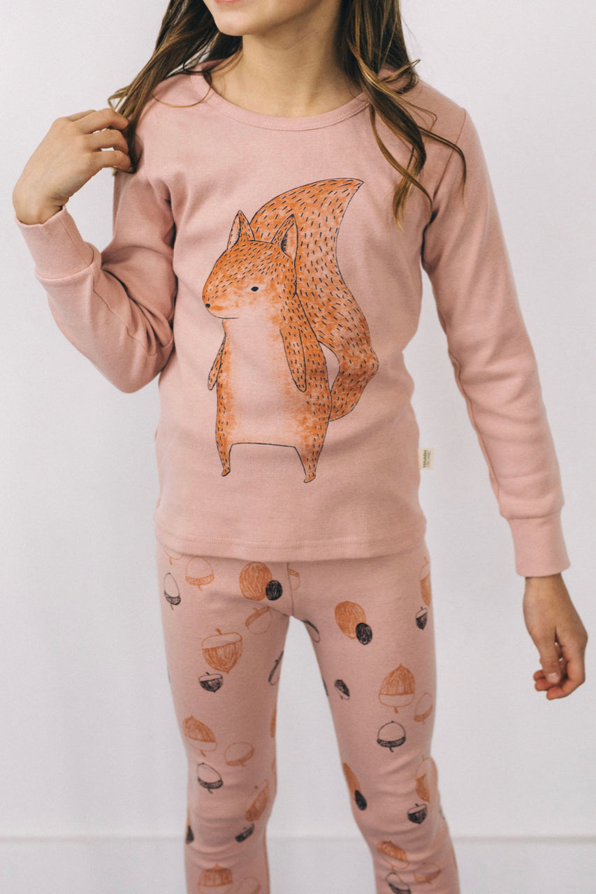 Pink Squirrel Pajama Set | ROOLEE Kids