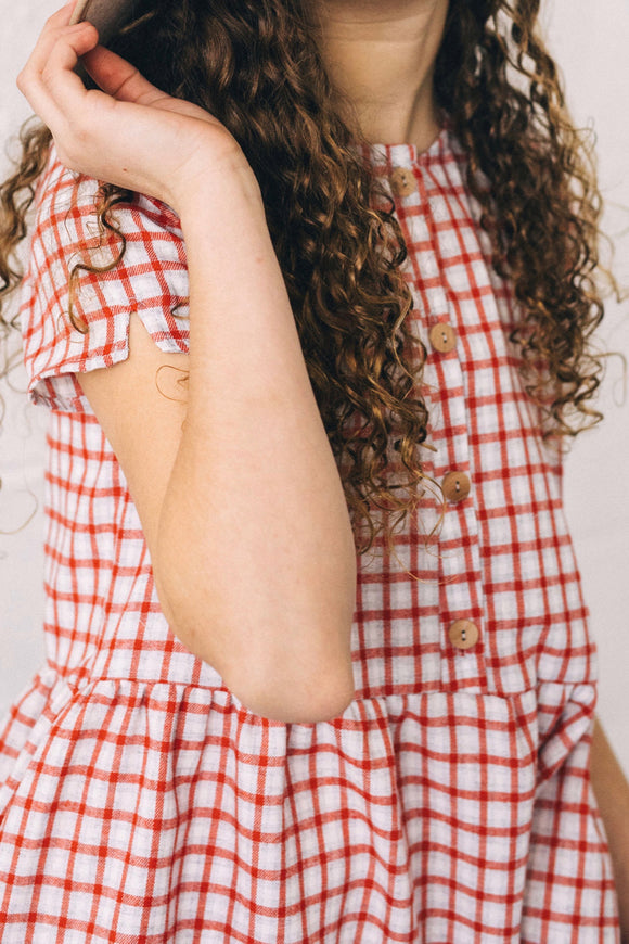 Red Plaid Dress Girls | ROOLEE
