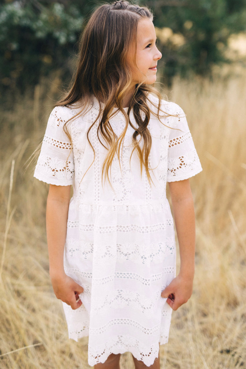 Short Sleeve Lace Dress Outfit For Girls | ROOLEE Kids
