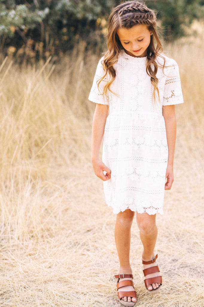 Short Sleeve Eyelet Lace Dress For Girls | ROOLEE Kids