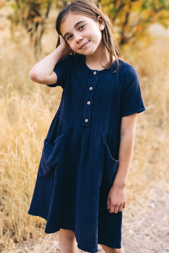 Short Sleeve Button Dress Outfits For Little Girls | ROOLEE Kids