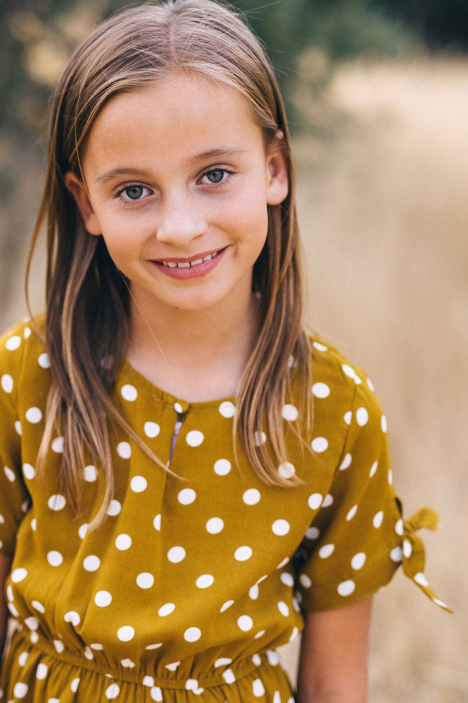 Mustard Polka Dot Dress | ROOLEE Kids