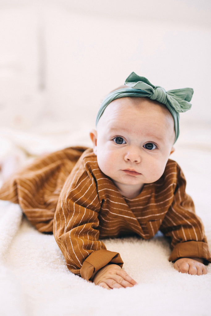 Copper Stripe Baby Dress | ROOLEE
