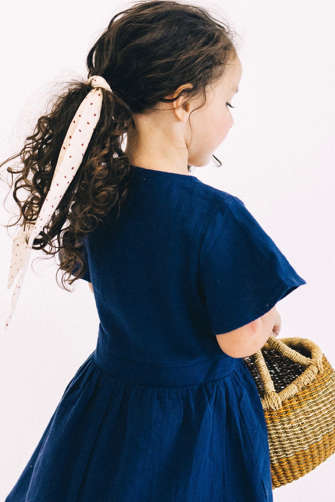 Woven Button Dress in Navy | ROOLEE Kids
