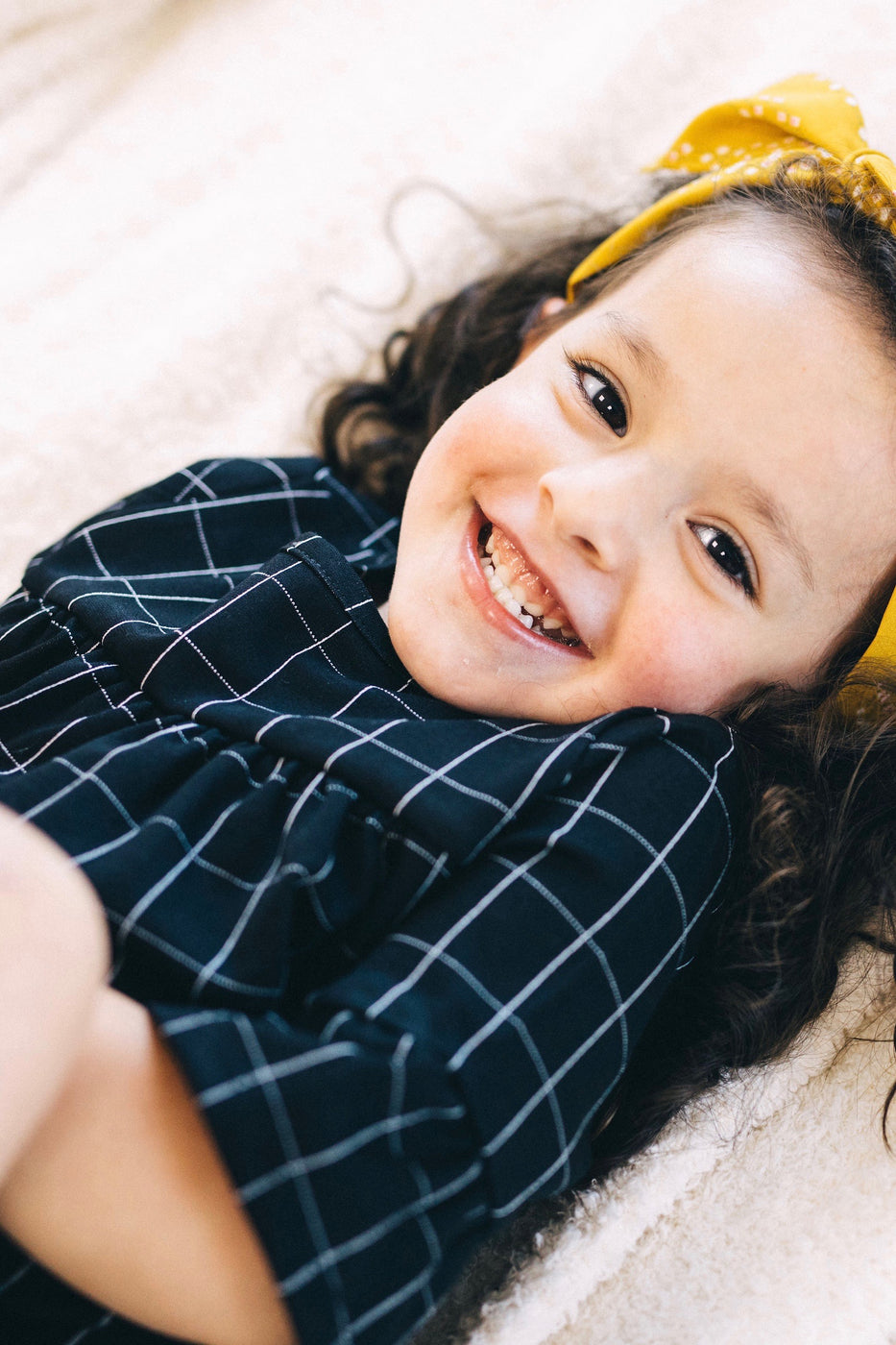 Black and White Grid Plaid Dress | ROOLEE Kids