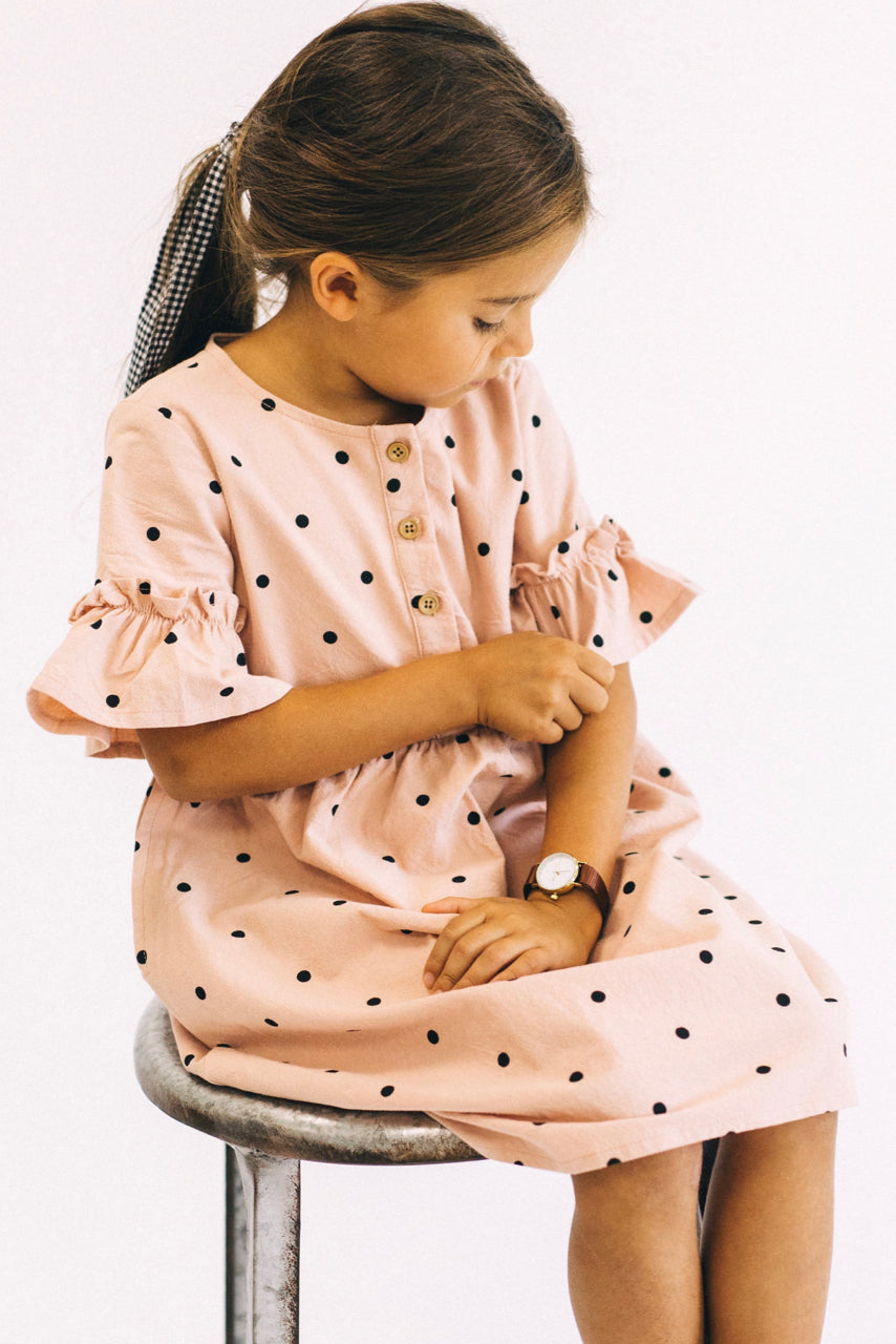 Wonderland Polka Dot Dress in Pink | ROOLEE Kids