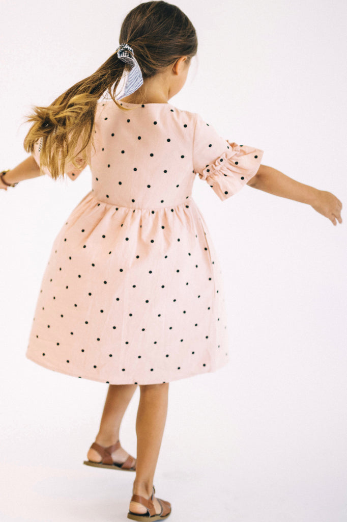 Light Pink With Black Polka Dots Dress | ROOLEE Kids