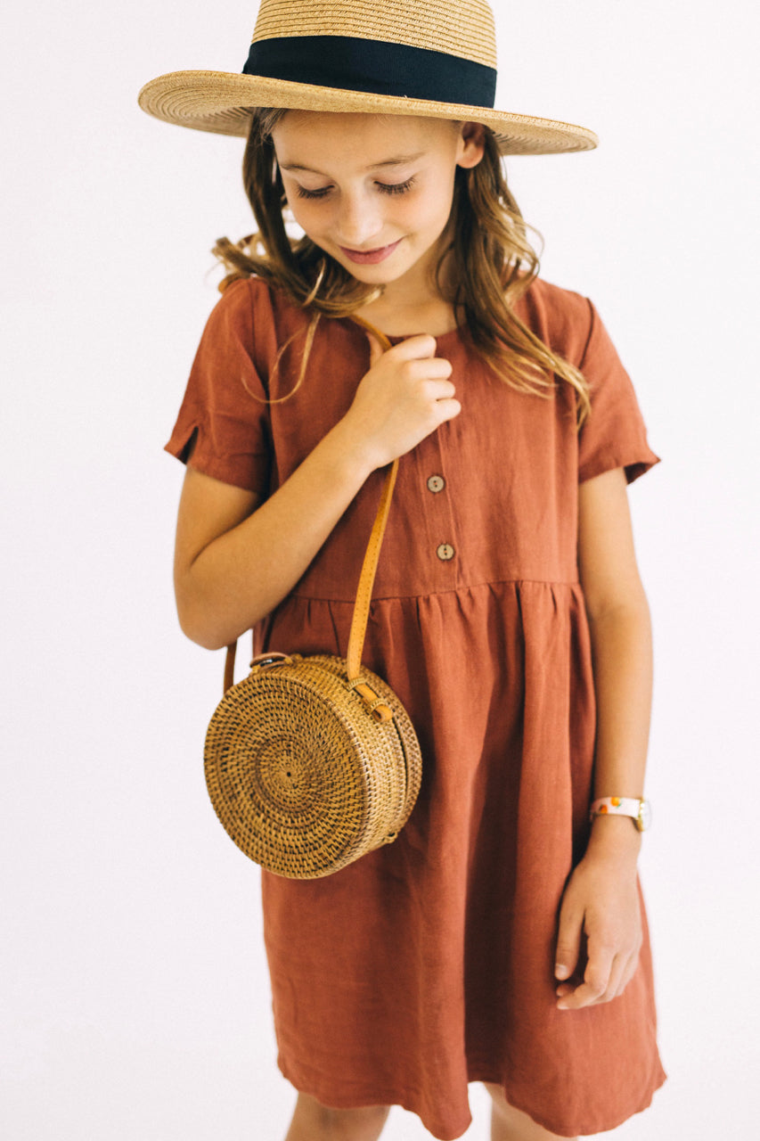 Quincy Button Dress in Rust | ROOLEE Kids