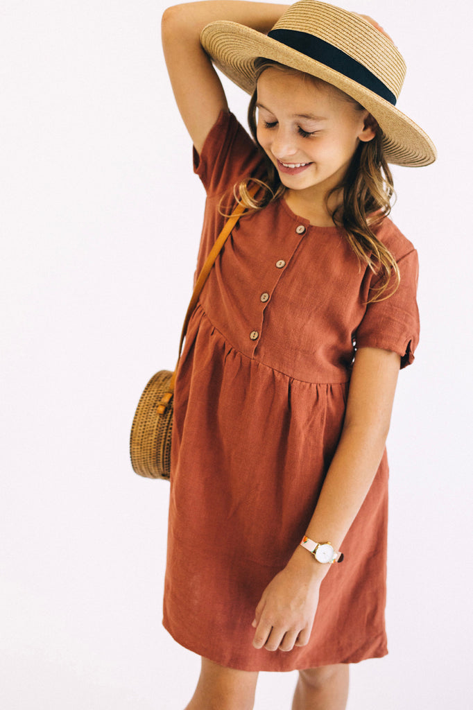 Woven Button Dress in Rust | ROOLEE Kids