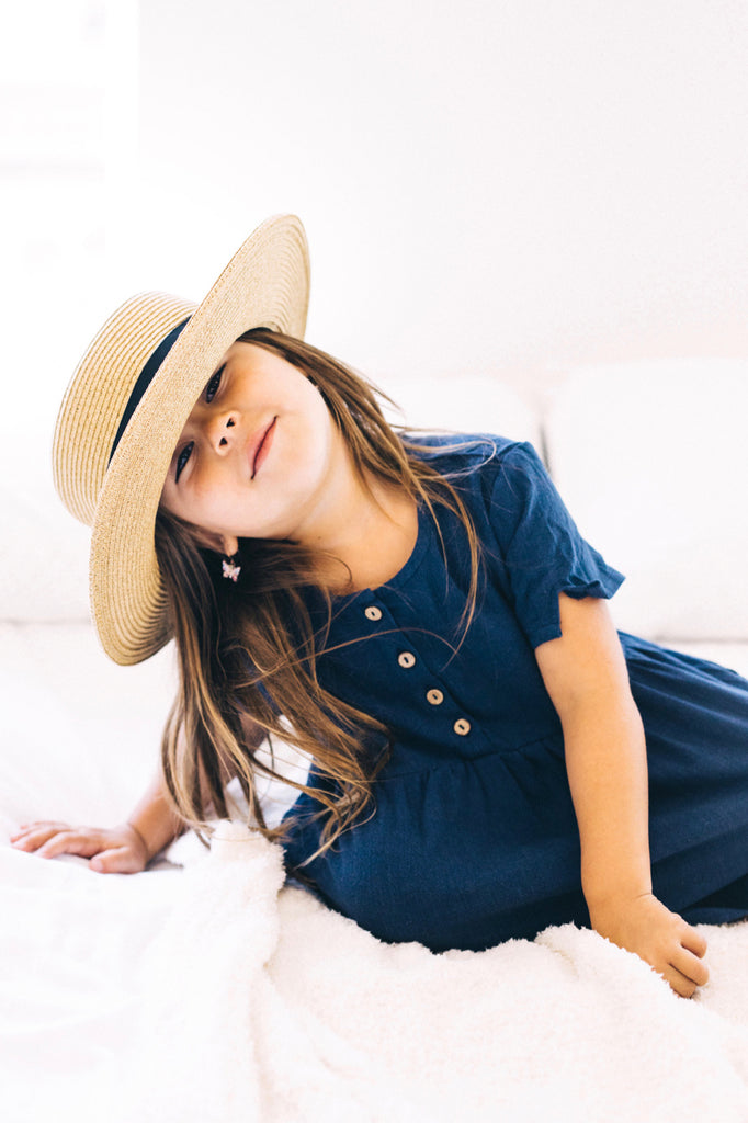 Woven Short Sleeve Button Dress in Navy | ROOLEE Kids
