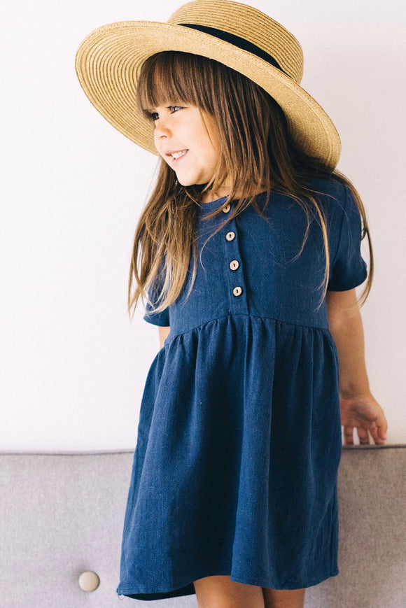 Quincy Button Dress in Navy | ROOLEE Kids