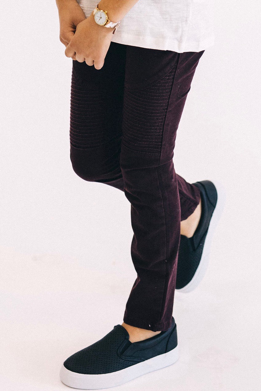 Valerie Moto Skinnies in Plum | ROOLEE Kids