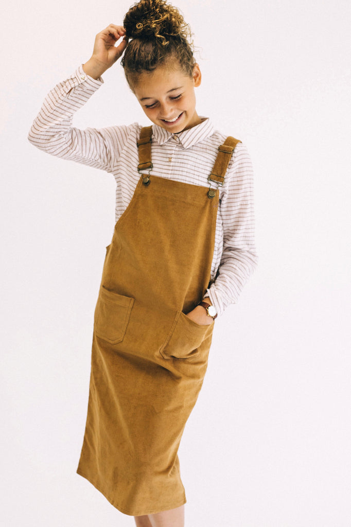 Mini Oaklee Overall Jumper in Caramel | ROOLEE Kids