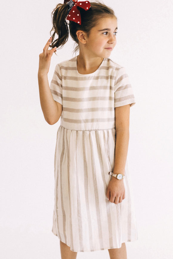 Nadene Stripe Dress in Tan | ROOLEE Kids