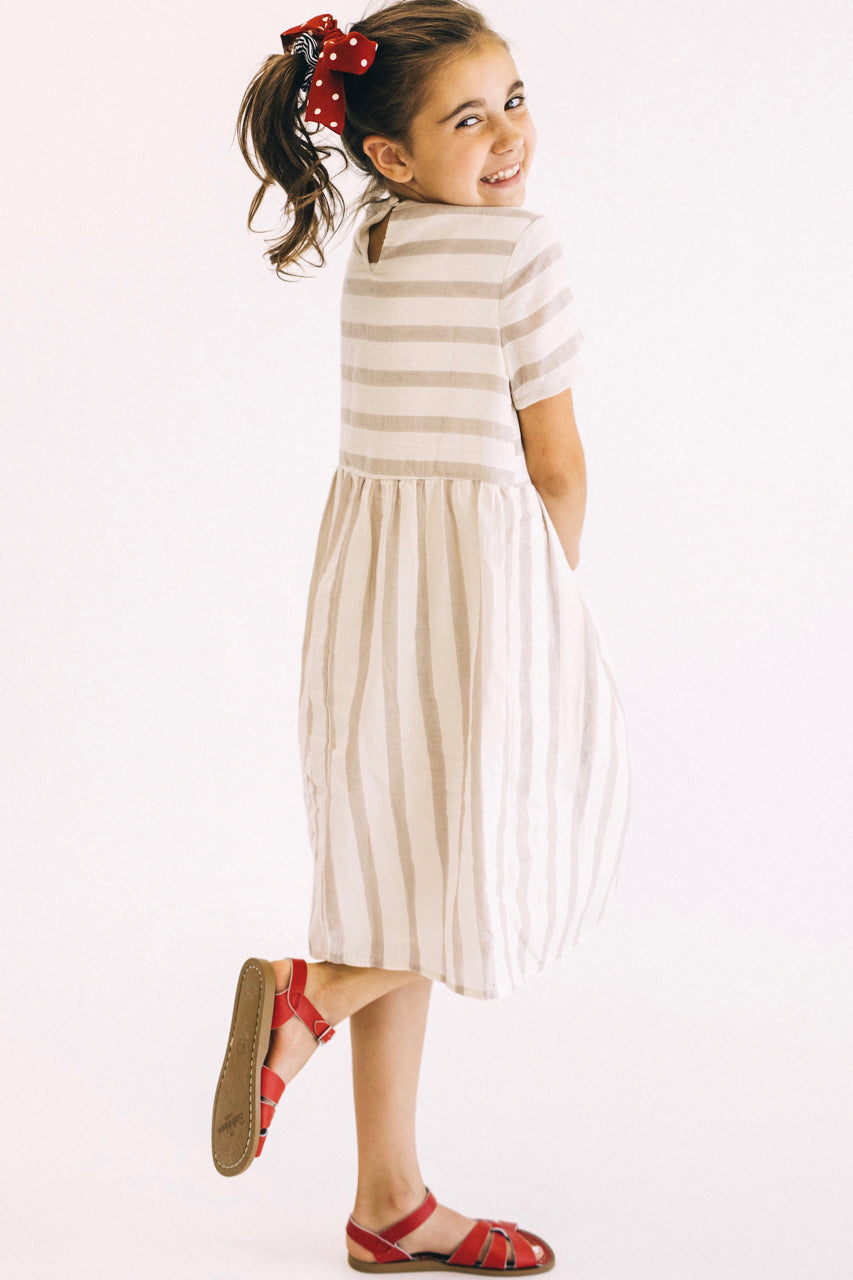 Stripe Dress in Taupe | ROOLEE Kids