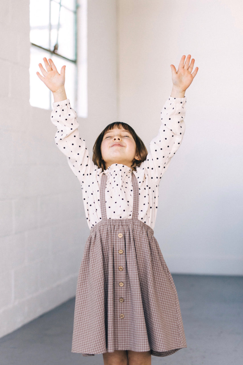 Girls Long Sleeve Polka Dot Blouse | ROOLEE