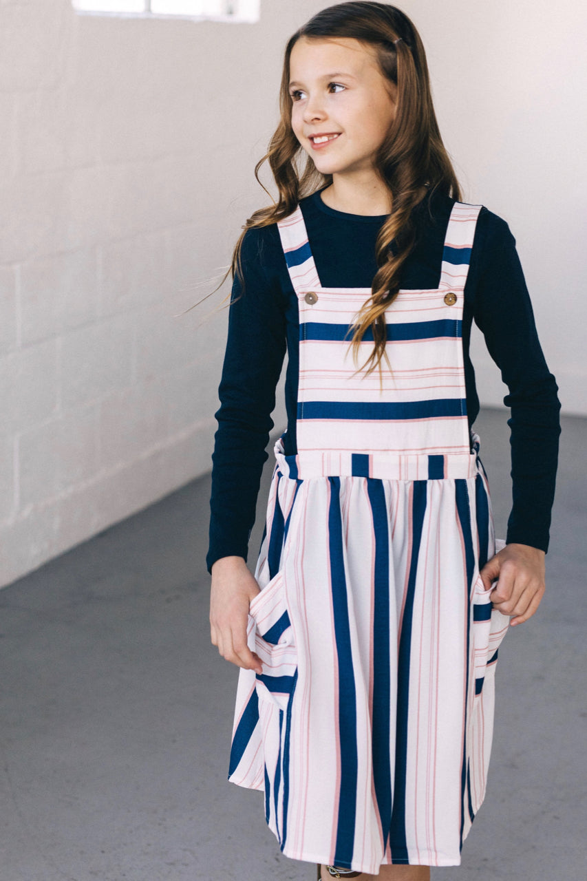 ce510f593 Kids Stripe Overall Dress | ROOLEE Kids Overall Jumper Dress | ROOLEE ...