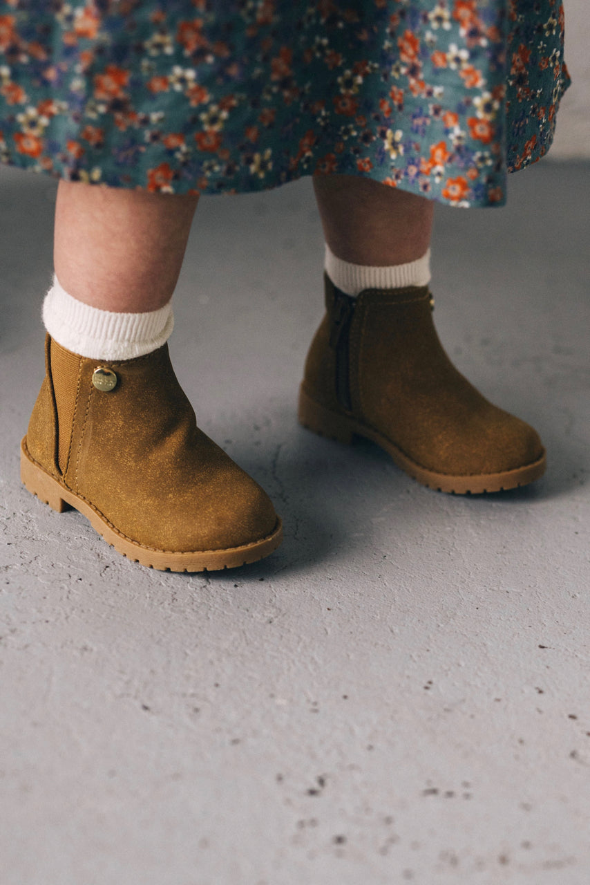 Tan Girls Ankle Boots | ROOLEE