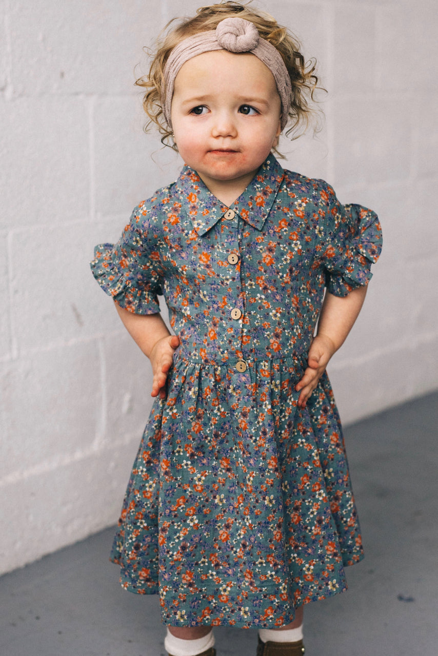 Girls Floral Button Dress | ROOLEE