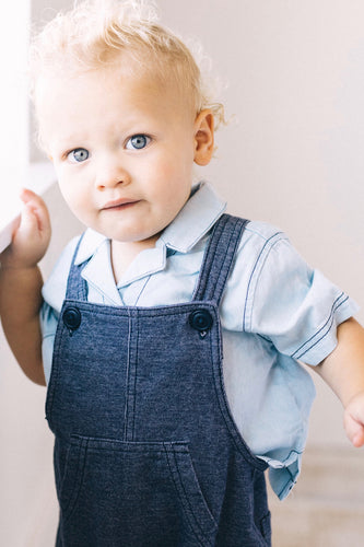 Short Sleeve Denim Button Up For Little Boys | ROOLEE Kids