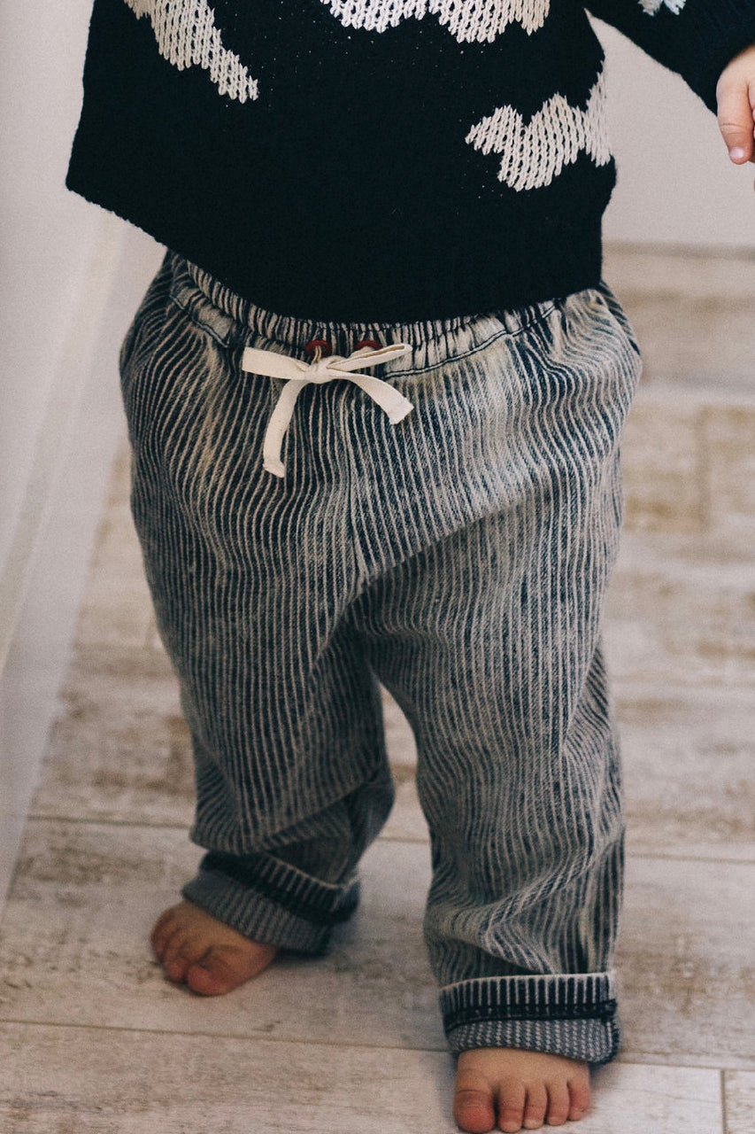 Navy + White Stripe Comfy Pant Outfit For Kids