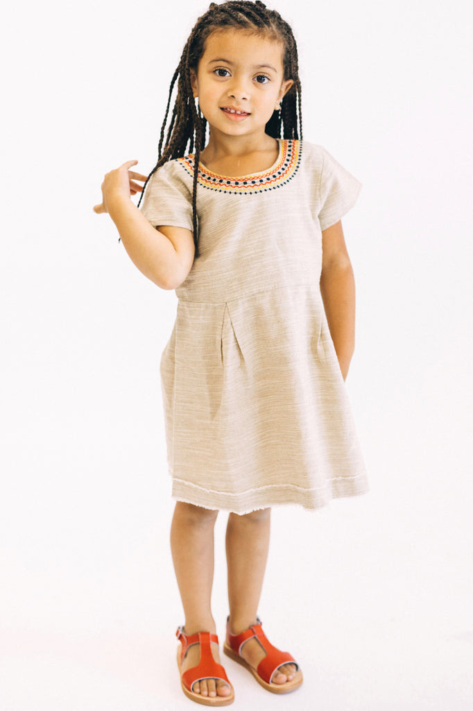 Beige Embroidery Dress | ROOLEE Kids