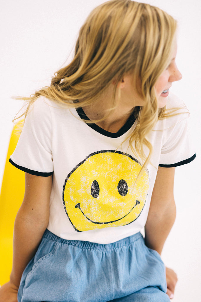 Smiley Face Print Basic Comfy Tee For Kids | ROOLEE Kids