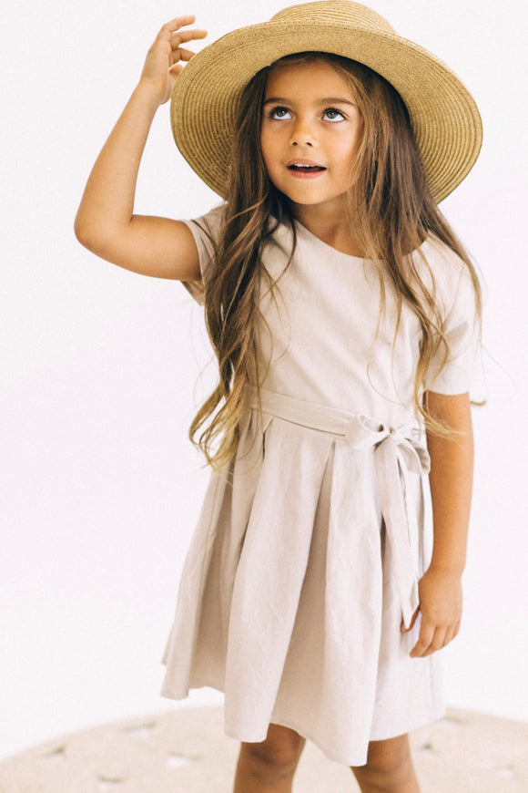 Cute Short Sleeve Dress With Waist Tie For Little Girls | ROOLEE Kids