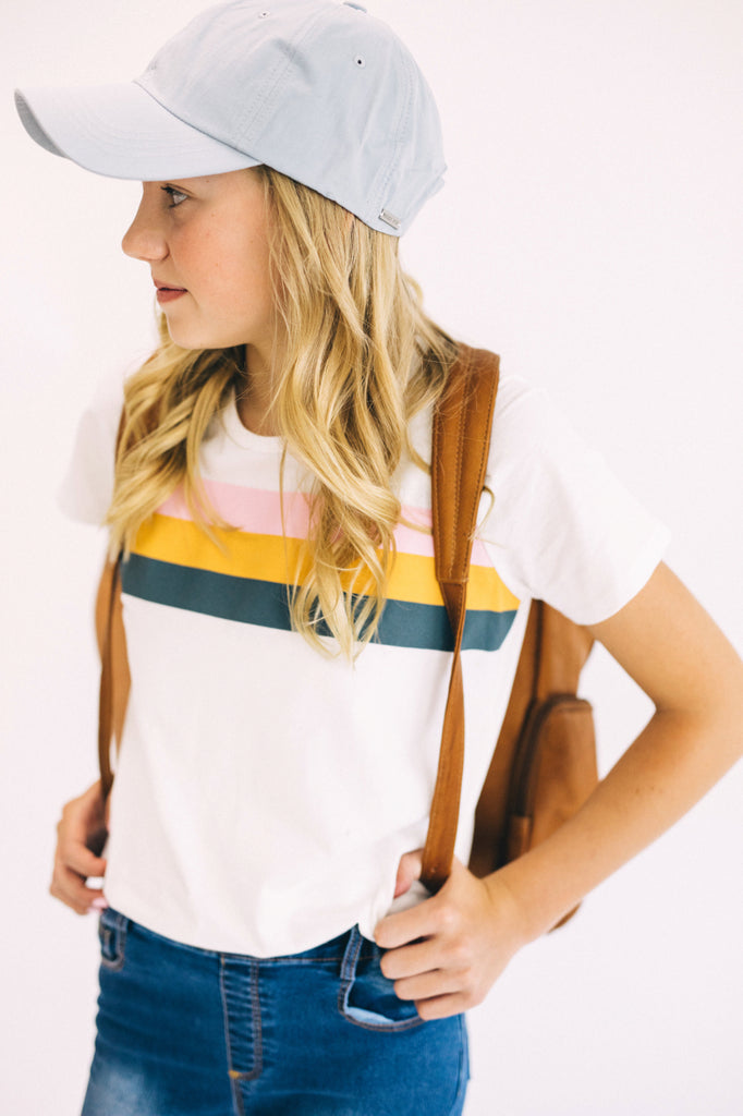 Cute And Casual Basic Stripe Tee For Kids | ROOLEE Kids