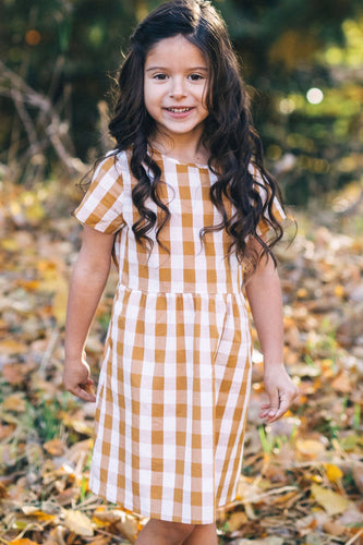 Greenville Plaid Dress in Mustard | ROOLEE